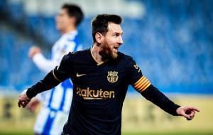 Lionel Messi saat melakukan selebrasi © https://www.fcbarcelona.com/en/