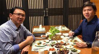 Ahok dan anaknya Nicholas Sean saat makan malam bersama (Image Credit: Instagram (@Nachosean))