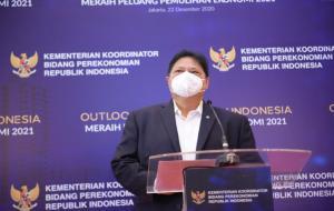 Menteri Koordinator Bidang Perekonomian Airlangga Hartarto pada saat opening speech OUTLOOK PEREKONOMIAN INDONESIA di Jakarta. © dok. Kemenko Perekonomian