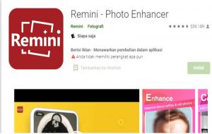 Tangkapan Layar Remini, Aplikasi Photo Enhancer © playstore